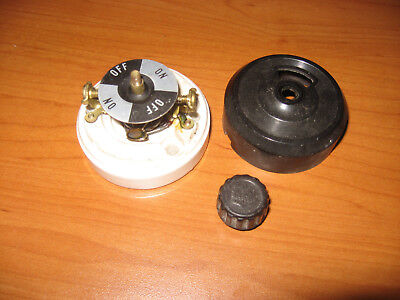 Vintage Rotary Switch Porcelain/Bakelite Bryant Single-Pole ON/OFF 10A 125V