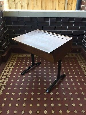 Vintage Timber and Steel Child's Single School Desk - Gloss lid for easy clean