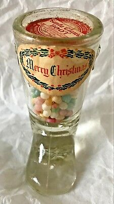 Antique Vintage Santa Claus's Boot Glass Candy Container JH MILLSTEIN -UNOPENED