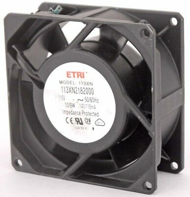 ETRI 113XN2182000 Impedance Protected AC Axial Cooling Fan 10/9W 140/115mA