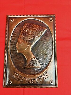 Vintage Chasing Embossed Copper Relief Wall Plaque Picture Queen Nefertiti Egypt
