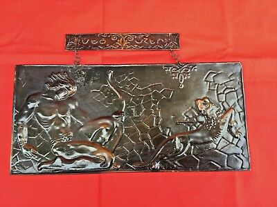 Vintage Chasing Embossed Copper Relief Wall Plaque Picture ARMENIA METZ MEAGER