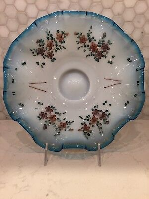 Vintage Antique Hand Painted Ruffled Blue Glass Wedding Bridal Basket Insert