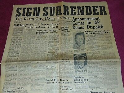 May 7, 1945 Rapid City S.d. Newspaper: Wwii Nazi Germany Surrenders