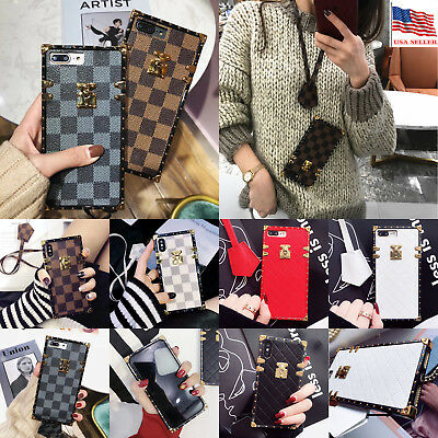 Luxury Vintage Plaid Leather Phone Case For iPhone X XS Max XR 8 Huawei Samsung