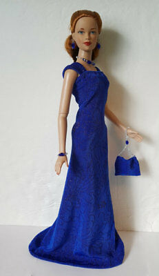 TYLER Doll Clothes Holidays Blue GOWN, PURSE & JEWELRY HM Fashion NO DOLL d4e