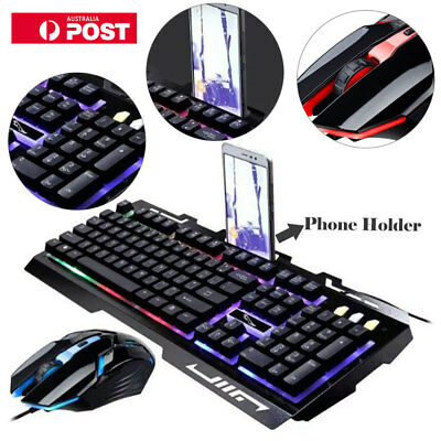 Wired Gaming Gamer Keyboard And Mouse Set Combo RGB LED Backlight For PC Laptop