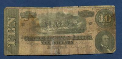 1864 Confederate States of America $10, Note inv#1465