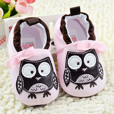 Toddler Baby Girl Pink Owl Crib Shoes casual shoes Soft Soles Size 0-18 Months/M