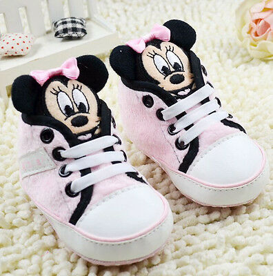 Infant Baby Girl Pink Minnie Mouse Crib Shoes Size Newborn to 18 Months /M