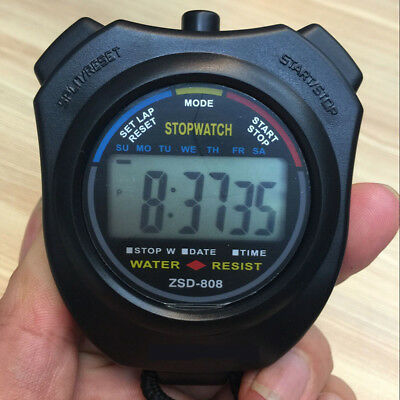 LCD Digital Handheld Sports Stopwatch Stop Watch Timer Alarm Counter UK Seller