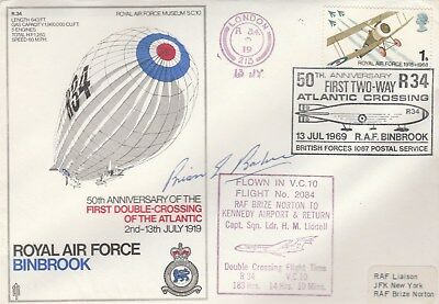 RAF Binbrook cover signed Brian Baker, WWI flying ace, + J H Gray, R34 Airship