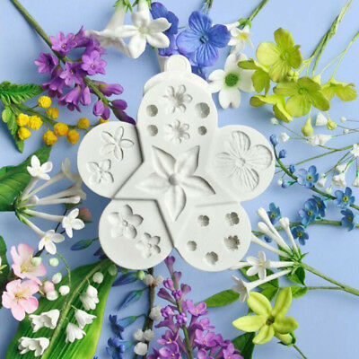 Flowers Silicone Cake Mould Resin Fimo Leaf Plant Ball Fondant Baking Icing Mold