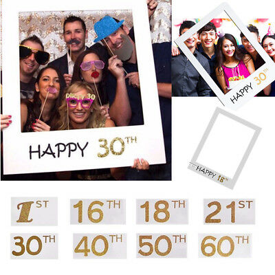16/18/30/40/60th 21st Frame Photo Booth Props Happy Birthday Paper Party Selfie