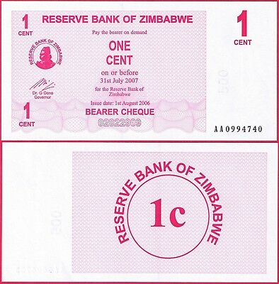 Zimbabwe 1 Cent Bearer Cheque 2006 P33 Unc