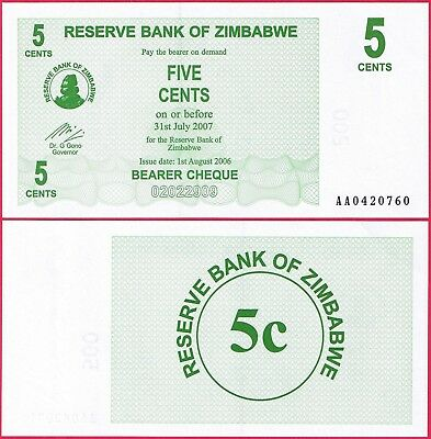Zimbabwe 5 Cents Bearer Cheque 2006 P34 Unc