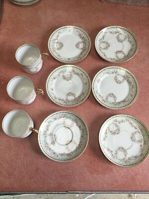 """3 French  """" Goa"""" Trios With Pink & Green Floral Pattern."""