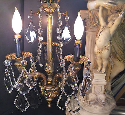 Fine Antique Petite French Empire Classic Gilt Bronze 3 Arm Chandelier~Reduced $