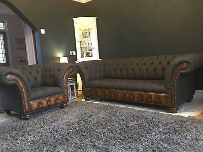 Handmade Grey Chesterfield Sofa & Matching Chair - 5 Months Old Mint Condition
