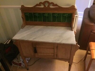 Antique marble top wash stand with original art deco tiles and marble top.