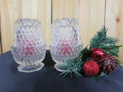 Clear Press Cut Diamond Pattern Candle Holders, Vintage Glass Candle Holders