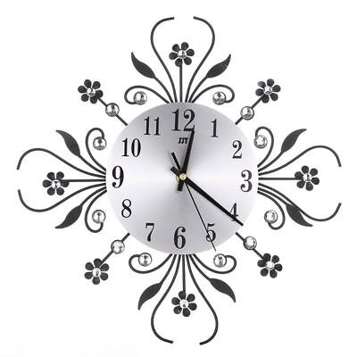 Modern Luxury 3D Wall Clock Metal Diamonds Flower Silent Home Office Living Room