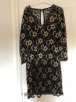 Joe Browns Black And Gold Dress Size 18