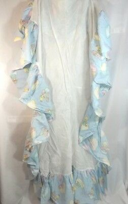 Precious Moments Crib Skirt Dust Ruffle Angels Baby Blue Made in USA
