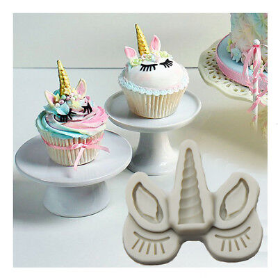 Silicone Unicorn Head Horn Cake Fondant Mold Horse Eye Eyelash Baking DIY Mould