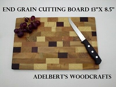 "13"" x 8.5"" x 1 "" Thick end grain hard wood cutting board Made in America."