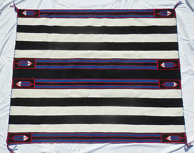 """Classic NAVAJO 1st Phase Chief's Rug w Cochineal, Feathers & Indigo 60""""x48"""" NR"""