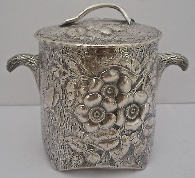 American Aesthetic Figural Cut Log Sterling Tea Caddy Flowers And Butterfly 1885