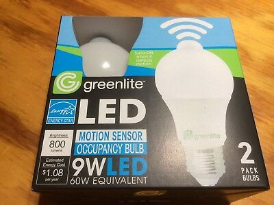 2 Motion Sensor Occupancy LED Bulbs 60w Equivalent 3000k Bright White A19