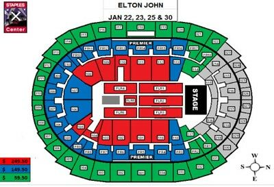 No Reserve.  2 Tickets Row 12 Elton John At Staples Center 1/25/19.