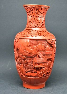 Vintage Chinese Cinnabar Vase ~ 7.75 Inches tall~