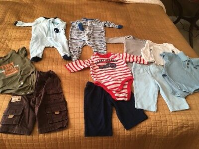 USED 10 PC. LOT OF NEWBORN BABY BOY CLOTHES/SLEEPERS Size 3-6 Months