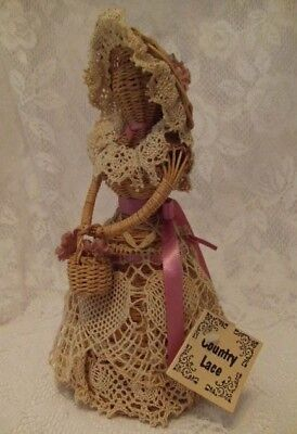 Vintage Wicker Lady Doll Figurine Figure Crocheted Dress Country Cottage Chic