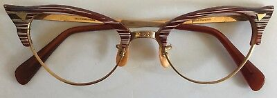1950-60s Cats Eye Eyeglasses 12K Gold Filled RARE Striated Colorful Never Used