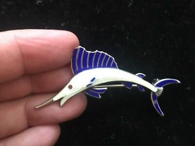 Superb Vintage Sterling Silver & Enamel Marlin Fish Brooch Pin Usa