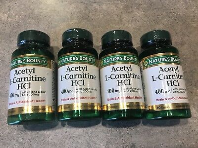4 Bottle Nature's Bounty L-Carnitine 400 mg ALA 200 mg 120 Capsules Exp 6/2019