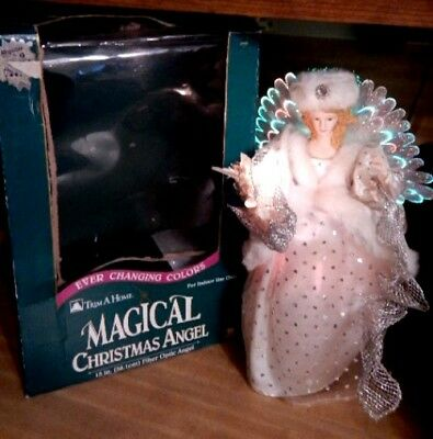 Fiber Optic Angel Christmas Tree Topper Color Changing Table Topper White Boxed