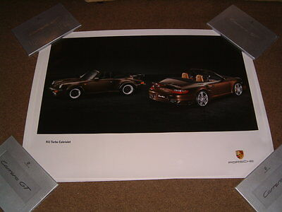 Porsche Factory Issued Showroom Poster Of 911 Turbo Cab 2 Shots/angles (No.53)