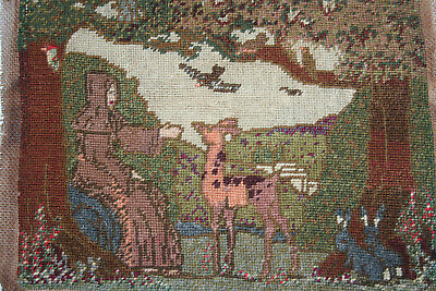 Finest Antique Tiny Petti Point/Woolwork Arts & Crafts Picture St.Francis?