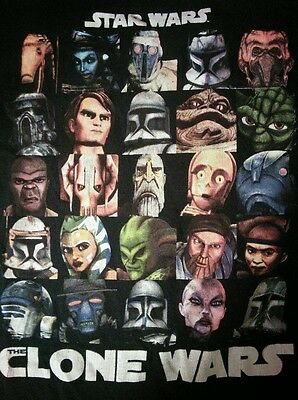 Star Wars Clone Wars Graphic T-Shirt Animated Series No Size Tag Black