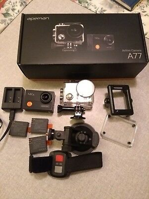 Apeman 4K Action Camera With Wrist Remote And Lots Of Accessories Hardly used
