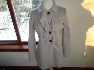 J.Crew 100% Wool Ruffle Front  Peacoat Jacket Beige Taupe Size 4