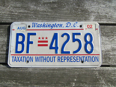 2002 Washington DC Embossed Taxation Without Representation License Plate