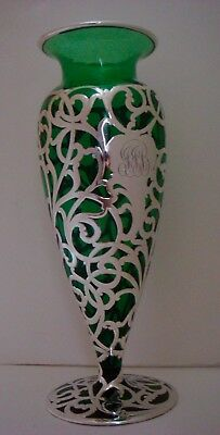 """Lovely Antique Green Glass and Sterling Silver Overlay Vase - Alvin 10"""""""