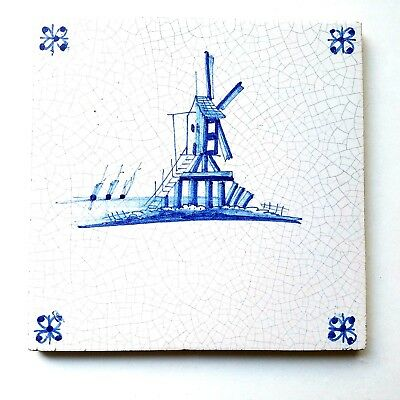 Vintage Hand Painted Windmill Ships Delft Blue & White Glazed Tile 5 1/8 ""