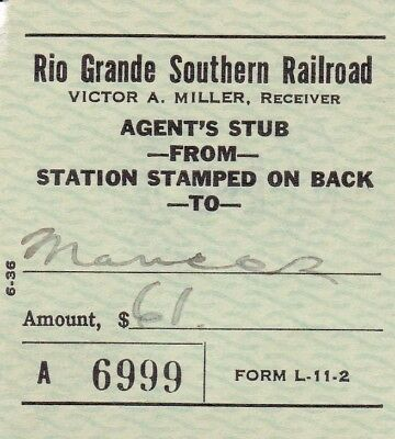 1938 Rio Grande Southern-RGS-Ticket from Dolores, CO to Mancos, CO-2/27/1938